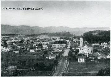 Aerial View of Randolph Avenue in Elkins, W. Va.